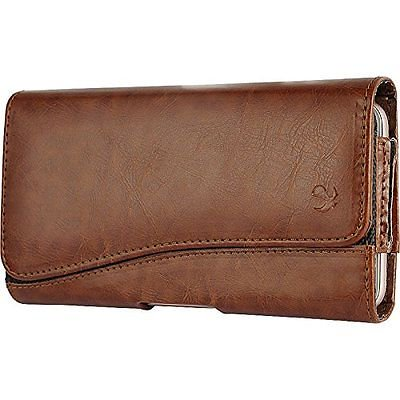 iPhone 6 6s 4.7 inch ~ Horizontal Leather Pouch Case Holster Belt Clip - Brown 2