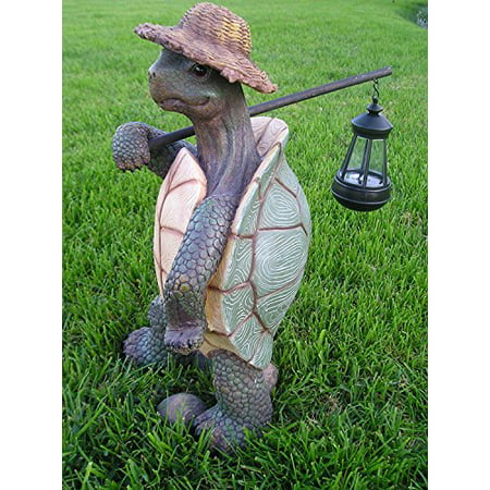 Ebros Gift Nautical Nature Lover Adventure Hiking Tortoise with Straw Hat Statue Carrying Solar Powered Lantern LED Light On A Pole Turtle Garden Yard Pool Patio Deck Home Decorative Accent ()