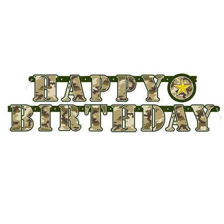 5ft Military Camo Happy Birthday Banner, 1 Military Camo Happy Birthday Banner By Unique](Camouflage Decorations)