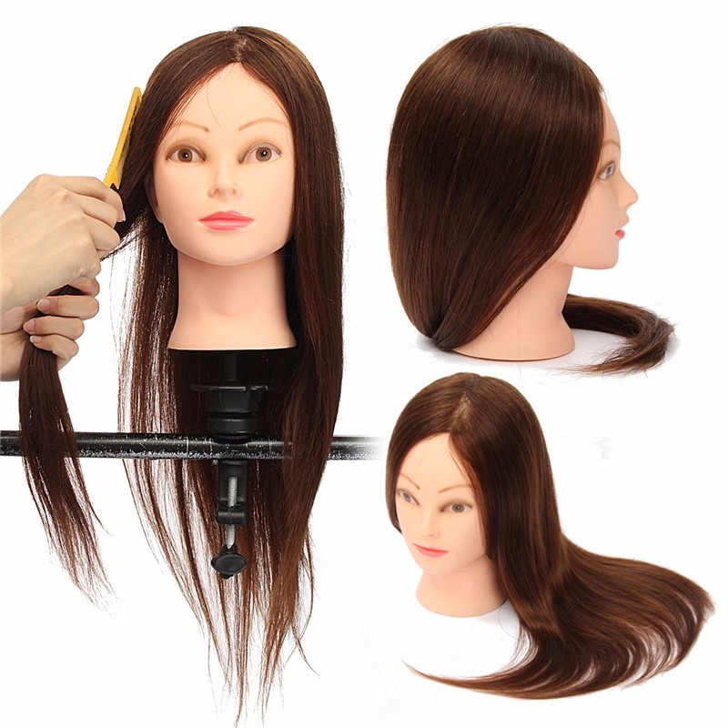 24'' 100% Human Hair Salon Training Practice Head Hairdressing Mannequin Stand+Clamp Holder
