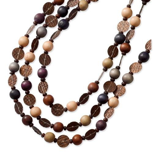 Multicolored Wood Layered Leather Cord Slip-on Necklace