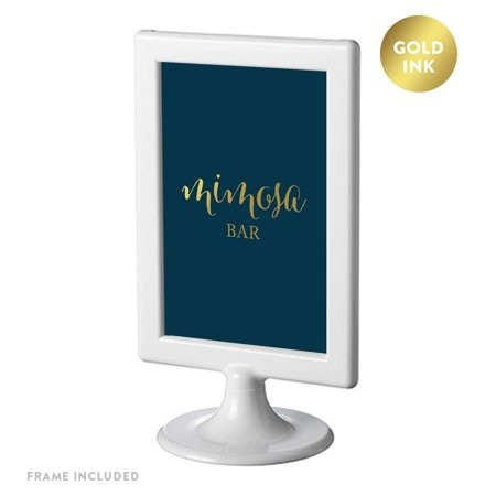 Framed Party Signs, Navy Blue with Metallic Gold Ink, 4x6-inch, Mimosa Bar Sign - Diy Mimosa Bar