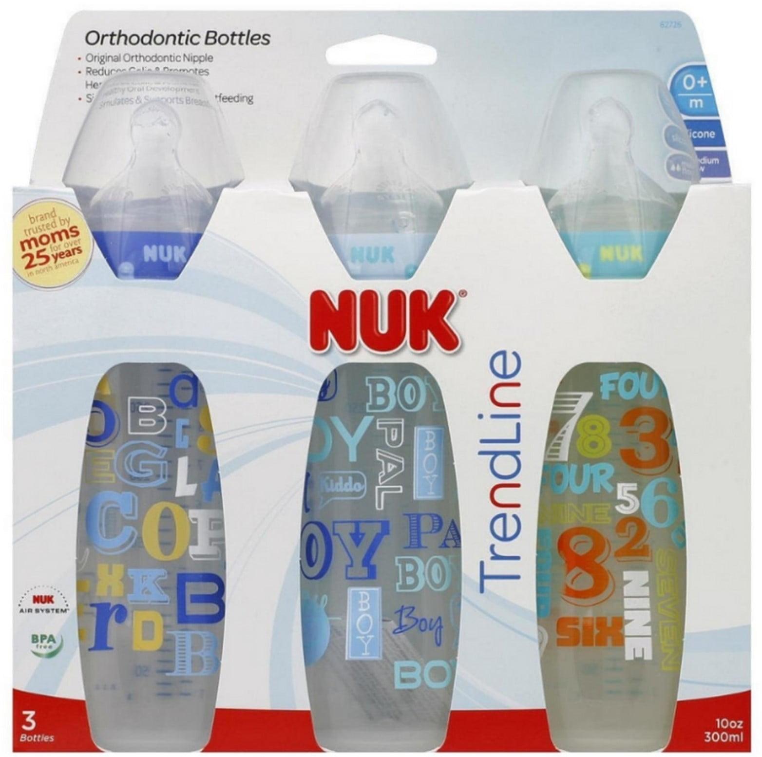 NUK TrendLine Orthodontic Bottles Silicone, Medium Flow Color May Vary 3 ea
