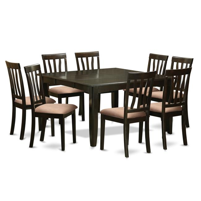 Dining Room Set - Square Gathering Table with Leaf & 8 Chairs - 9 Piece