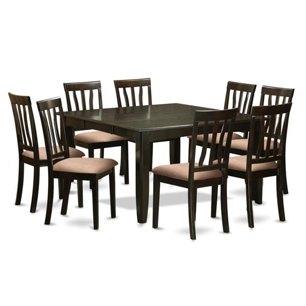 Dining Room Set Square Gathering Table With Leaf 8 Chairs 9 Piece Walmart Com Walmart Com