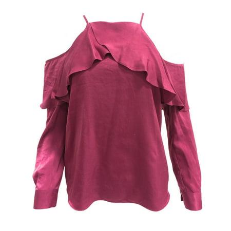 Bar III Cold Shoulder Satin Long Sleeve Blouse (Satin Long Sleeve)