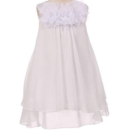 White Chiffon Flower Girl Dresses (Big Girls' Three Mesh Flower Neckline Chiffon Flowers Girls Dresses White 10)