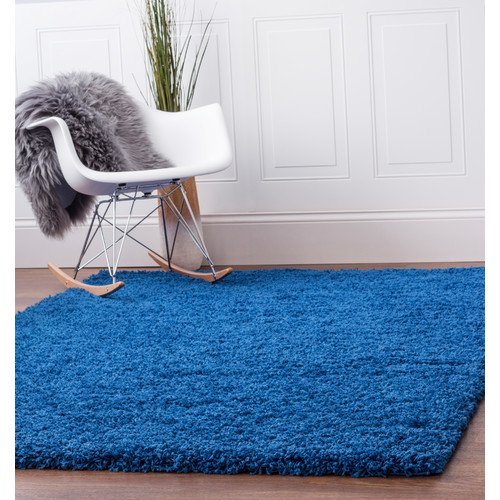 Super Area Rugs Cozy Plush Solid Blue Rug