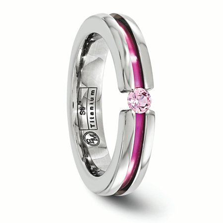 Edward Mirell Titanium Pink Sapphire Anodized Grooved 4mm Wedding Ring Band Size 7.00 Stone Gemstone Fashion Jewelry Gifts For Women For Her - image 4 of 11