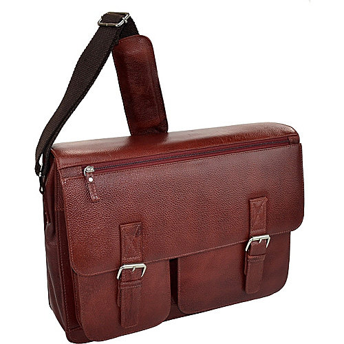 R & R Collections Cow Pebble Gain Leather Front 2 Buckle Mail Bag