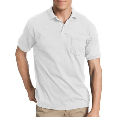 Hanes Mens Ecosmart Jersey Polo Shirt with Pocket