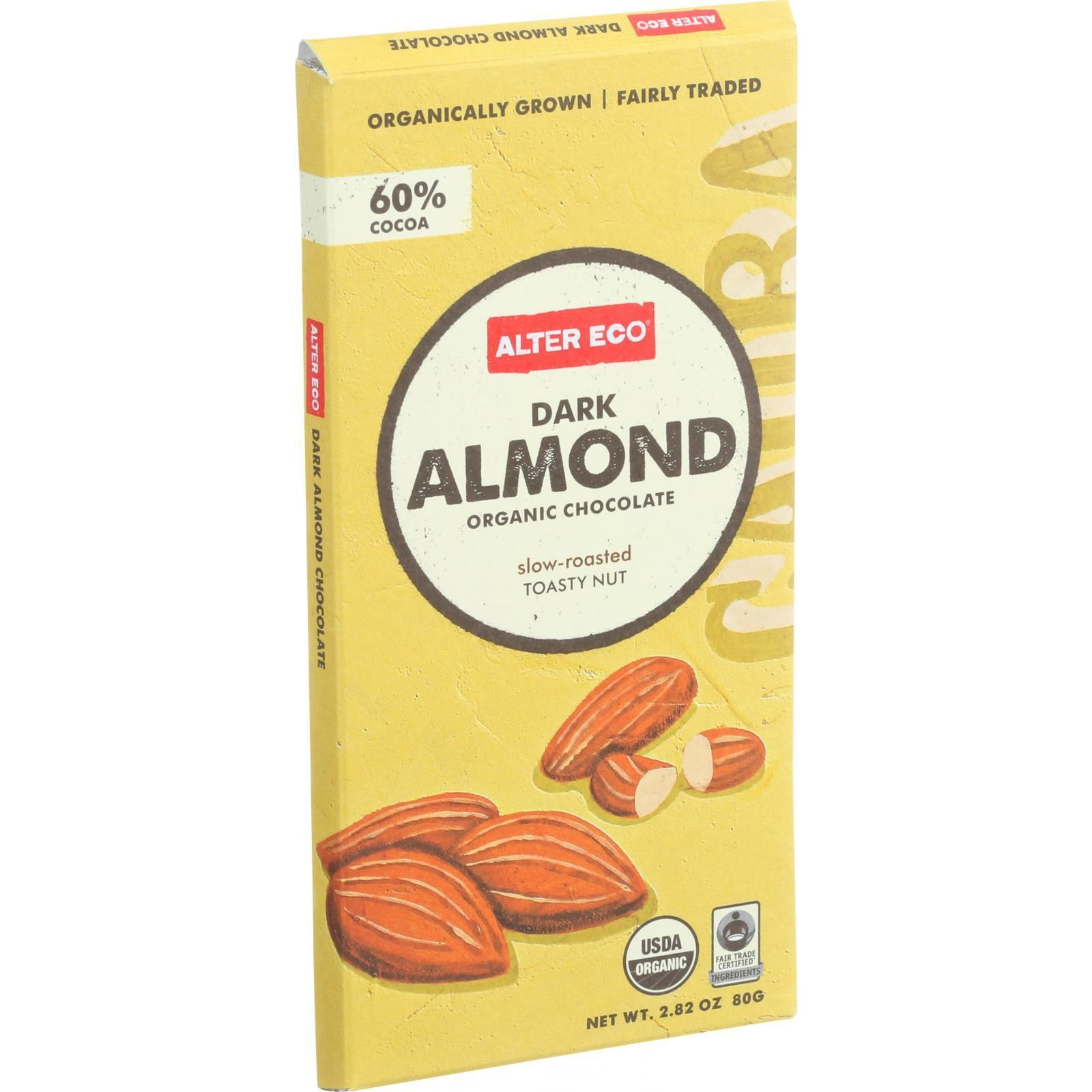 Alter Eco Americas Organic Chocolate Bar - Dark Almond - 2.82 oz Bars - Case of 12