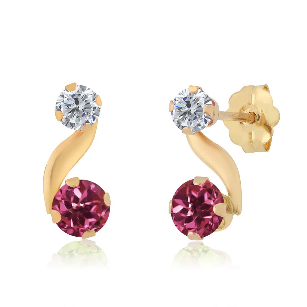 0.68 Ct Round Pink Tourmaline G H Diamond 14K Yellow Gold Earrings by