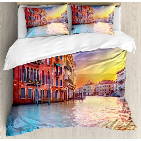 Italian Duvet Cover Set, European Magical Venice Canal with Historical Buildings Famous Town Scenery, Decorative Bedding Set with Pillow Shams, Blue and Orange, by (European Sham Bedding)