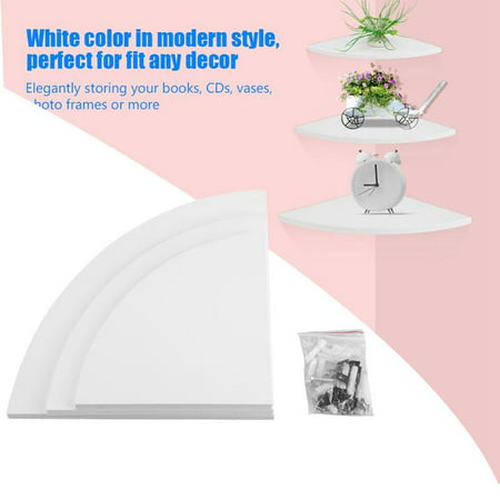 Hilitand Set of 3 Wall Mounted Corner Shelf Floating Corner Shelf Planter Stand Pot Holder Small Items Organizer White