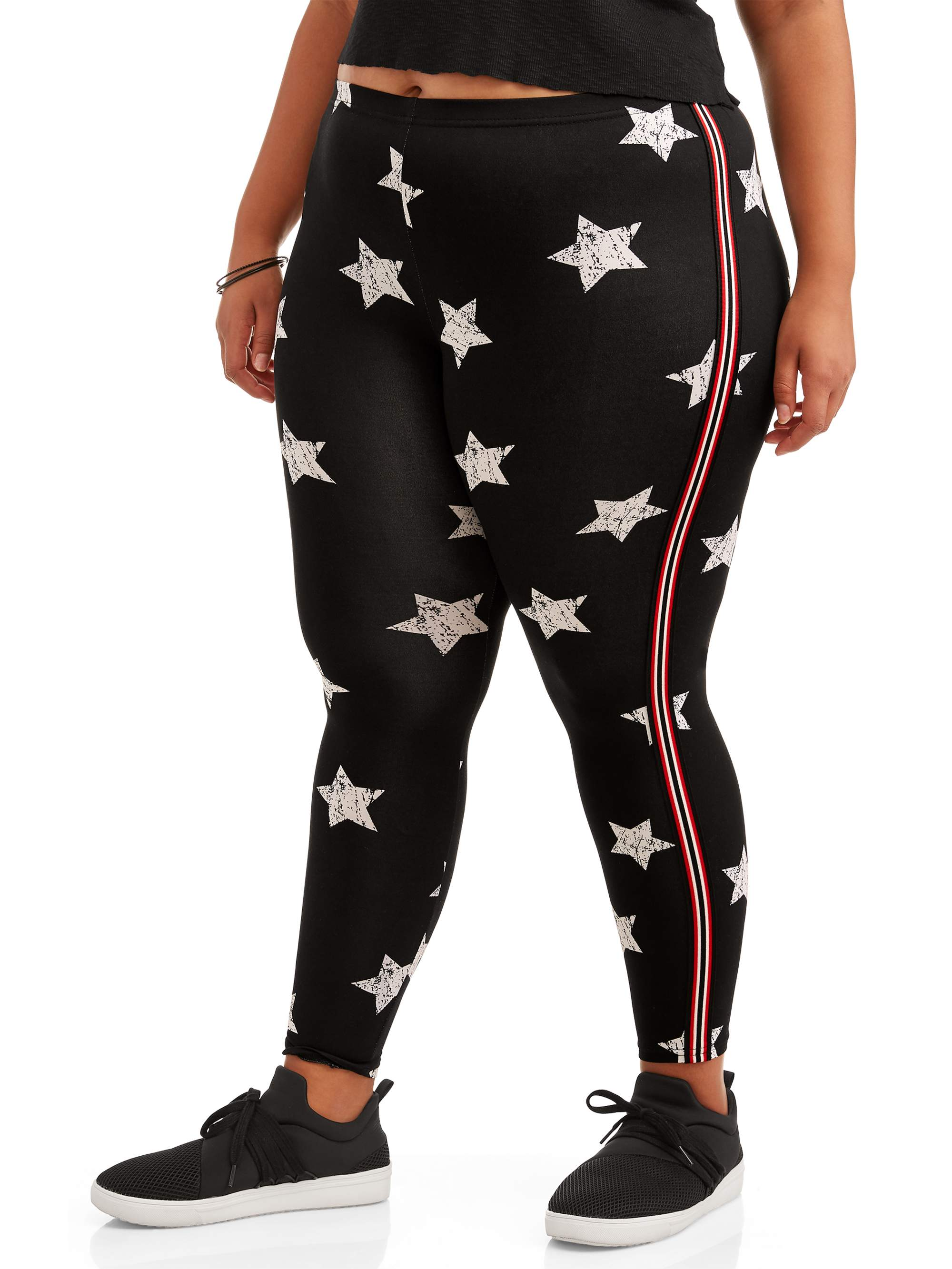 Juniors' Plus Size Super Soft Printed Leggings with Side Stripe