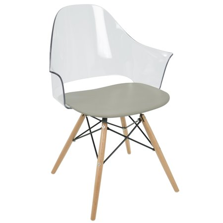 Flair Natural Wood (Tonic Flair Mid-Century Modern Dining/Accent Chair in Natural Wood and Grey by LumiSource - Set of)