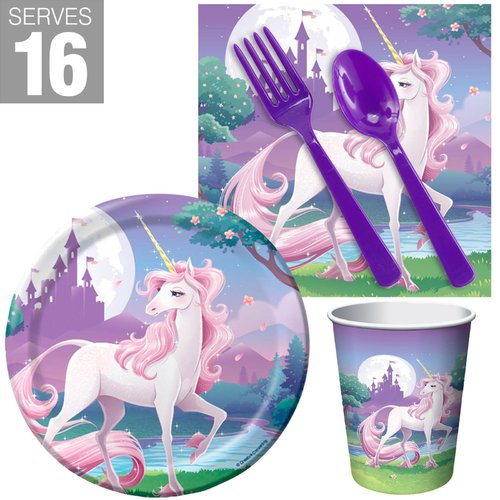 NA 57 Piece Unicorn Fantasy Snack Paper Disposable Party Supplies Set
