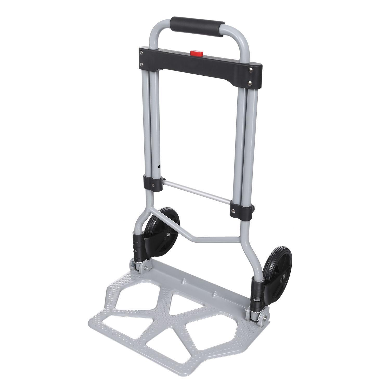 Clearance ! Portable Folding Hand Truck Dolly Luggage Carts, Silver, 220 lbs Capacity, Industrial Travel... by