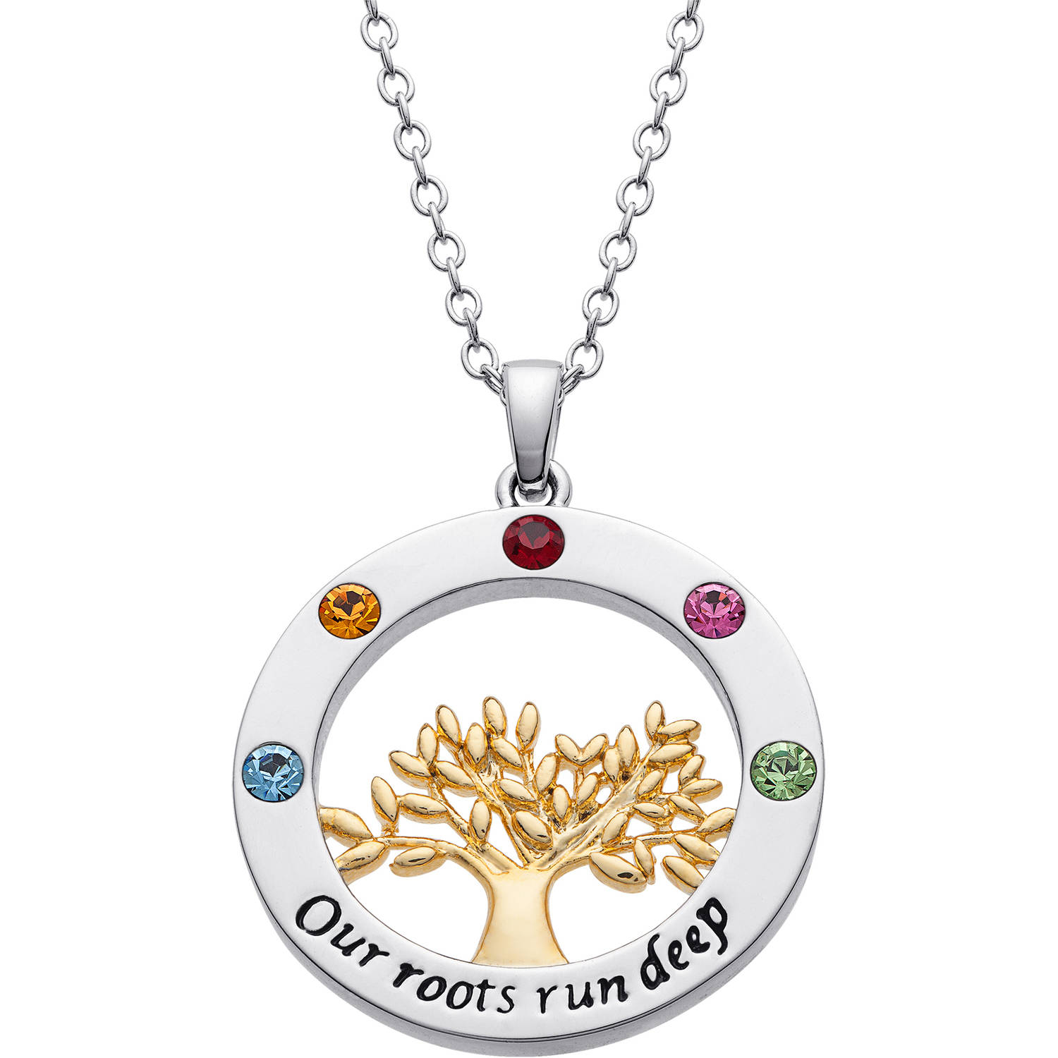 """Personalized Mother's Two-Tone """"Our roots run deep"""" Circle Tree Birthstone Pendant"""
