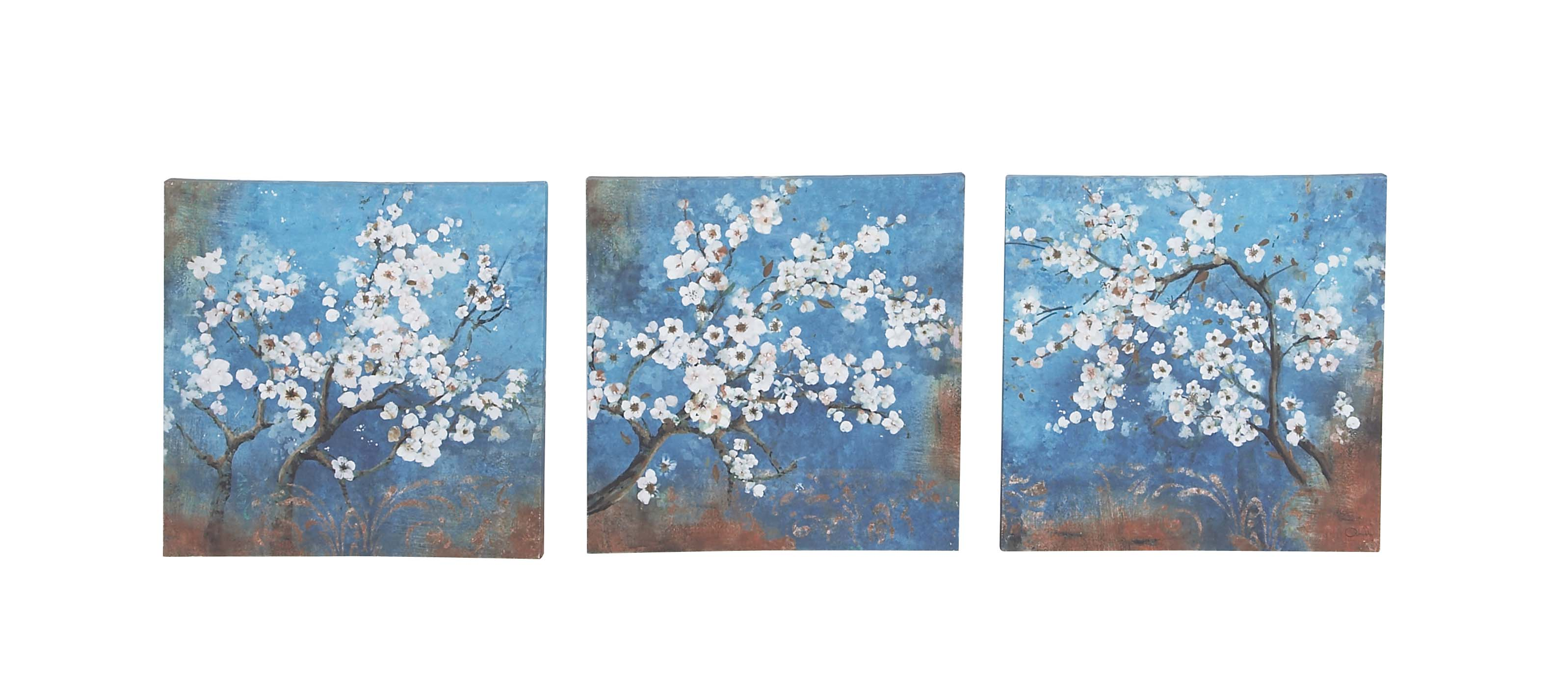 Decmode Set of 3 Rustic Canvas and Wood Painted Cherry Blossoms Square Framed Wall... by DecMode