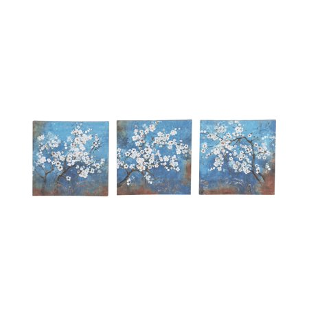 Decmode Rustic Canvas And Wood Painted Cherry Blossoms Square Framed Wall Art, Blue - Set Of 3 ()