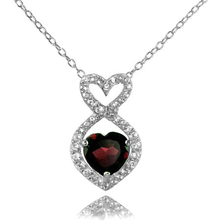 Garnet and White Topaz Sterling Silver Infinity Heart (Moonstone Garnet Pendant)