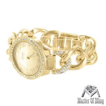 Ladies Roman Dial Watch 14k Yellow Gold Finish Miami Cuban Bracelet Geneva Party