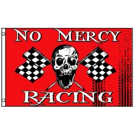 No Mercy Racing Pirate Flag Skull with Checkered Flags 3 x 5 Foot Race Banner for $<!---->