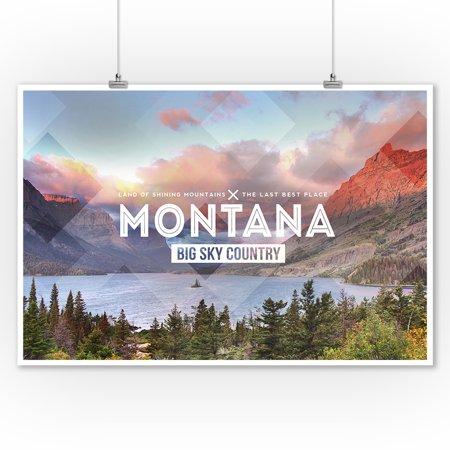 Big Sky Country Montana - Rubber Stamp - Lantern Press Photography (9x12 Art Print, Wall Decor Travel
