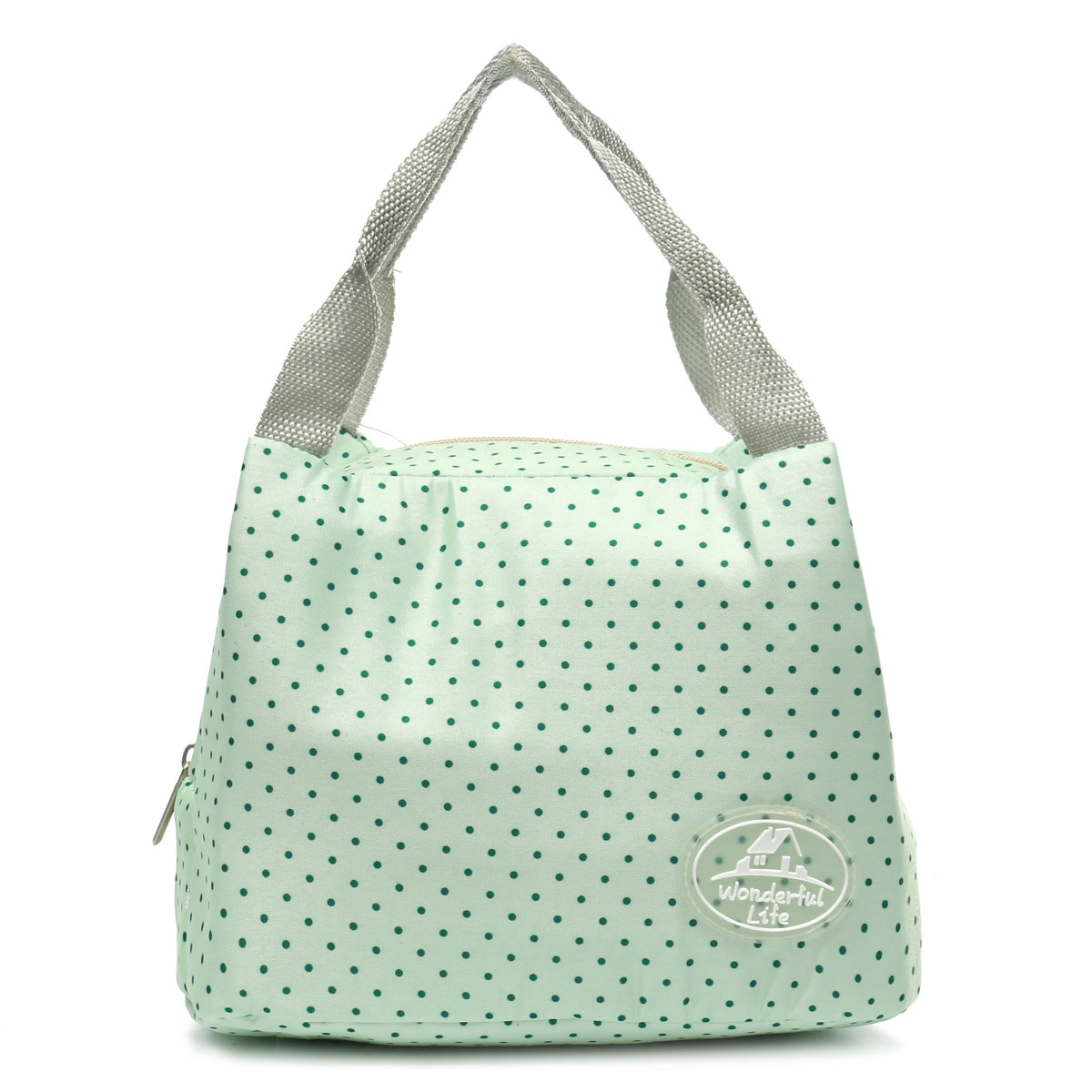 Portable Insulated Thermal Lunch Box Carry Tote Storage Bag Travel Picnic Pouch,Green Dot color