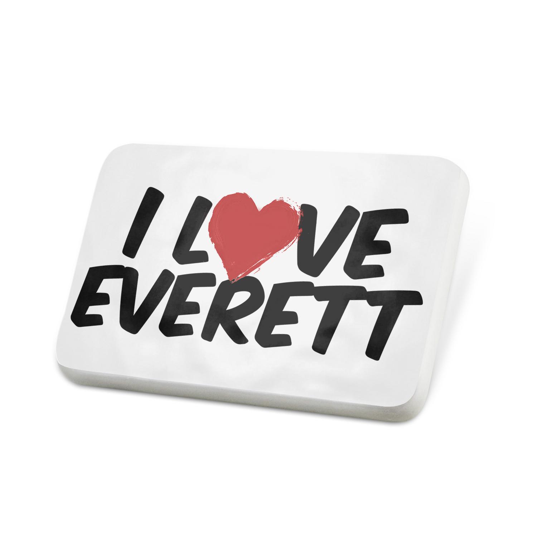 Porcelein Pin I Love Everett Lapel Badge – NEONBLOND