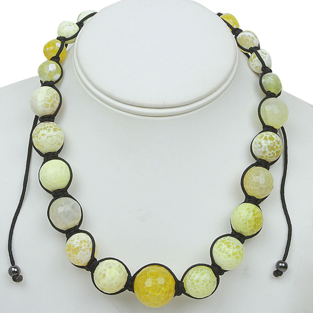 "18"" Yellow Agate Faceted Round Beads in Black Lace Adjustable Necklace (18""-24"")"
