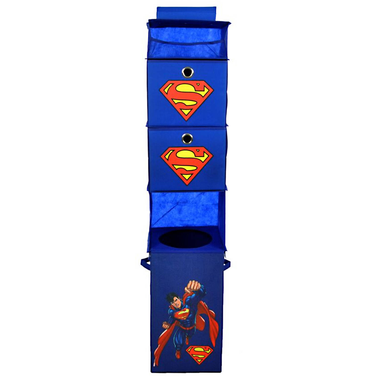Superman Blue Closet Hanging Organizer with 2 Storage Bins by Modern Littles