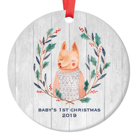 Baby's First Christmas 2019 Ornament Cute Fox Newborn Baby Boy Child Ceramic Keepsake 1st Holiday Season for New Mommy & Daddy Infant Son 3