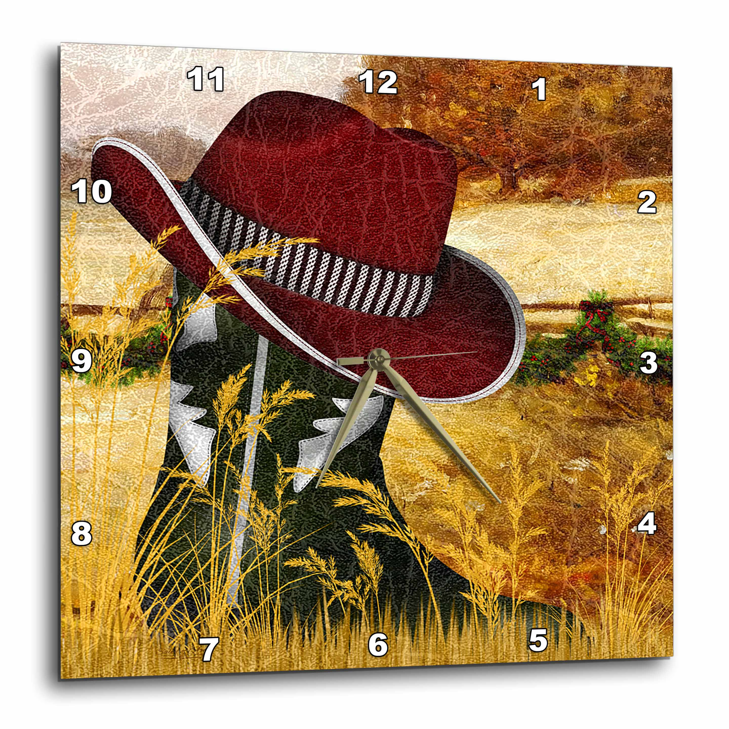 3dRose Western green cowboy boot with a red cowboy hat for Christmas., Wall Clock, 13 by 13-inch