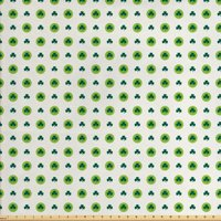 Floral Fabric by The Yard, Clover Flowers Green Dots Cultural Irish St. Patrick's Day Pattern, Decorative Fabric for Upholstery and Home Accents, by Ambesonne