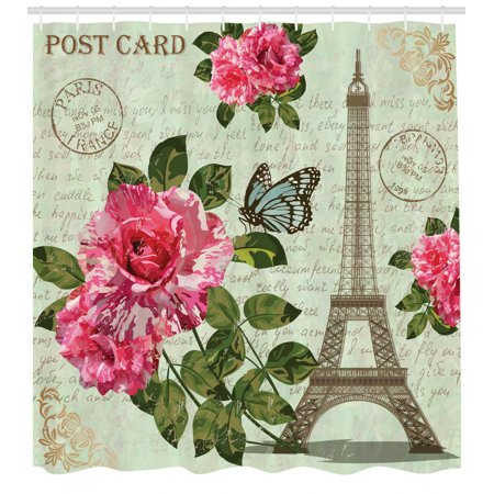 Paris Shower Curtain, Shabby Chic Romantic Roses Flowers Leaves with Eiffel Tower and Abstract Lettering, Fabric Bathroom Set with Hooks, Multicolor, by Ambesonne Eiffel Tower Fabric