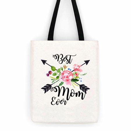 Best Mom Ever Floral Arrows Cotton Canvas Tote Bag Day Trip Bag Carry
