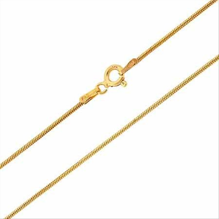Gold Tone over Sterling Silver Italian 1mm Snake Chain Necklace for Pendants 18 Inches