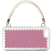 Joy New York Woven Handbag Dual Layer Case for iPhone 5/5S/SE - Silver/Dark Pink