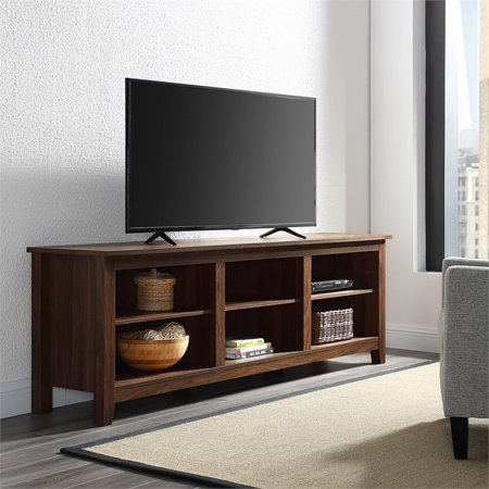 70 inch Wood Media TV Stand Storage Console in Dark Walnut