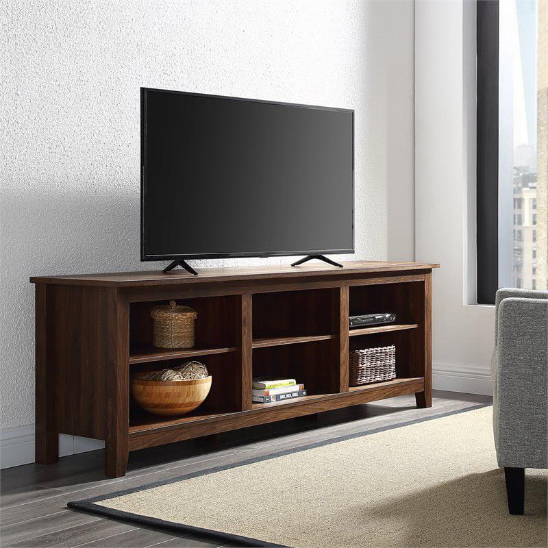 70 inch Wood Media TV Stand Storage Console in Dark Walnut
