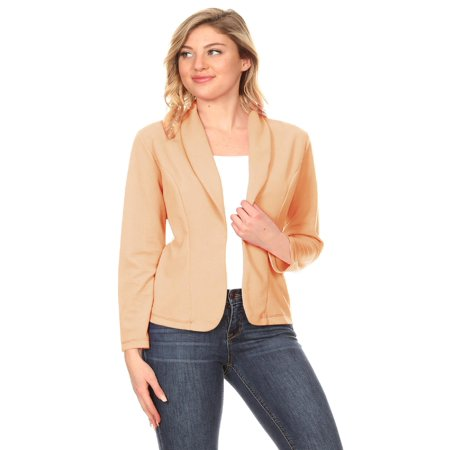 MOA COLLECTION Women's Solid Casual Office Work Long Sleeve Open Front Blazer Jacket/Made in USA Black Velvet Blazer Jacket