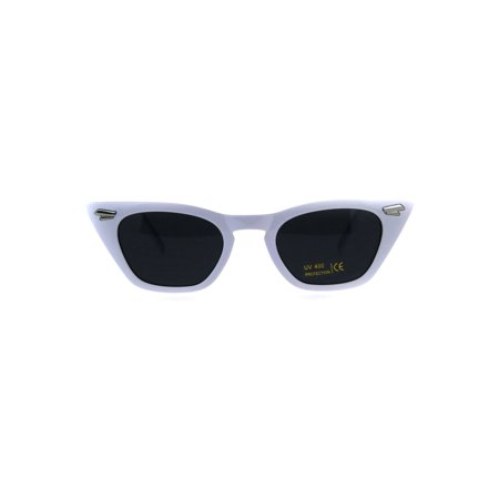 Womens Art Deco Mod Squared Cateye Goth Sunglasses White (Sunglasses Can T See Eyes)