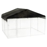 Lucky Dog 10 x 10 Foot Outdoor Chain Link Dog Kennel & Waterproof Roof Cover