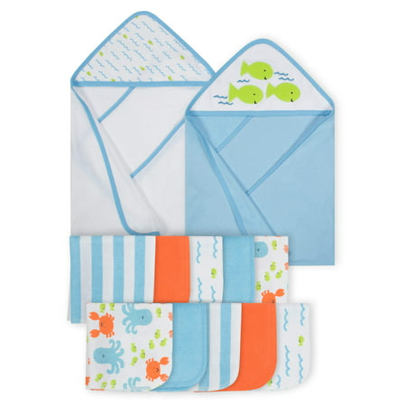 Gerber Baby Boy Hooded Towels & Washcloth Set, 12pc](Towels For Boys)