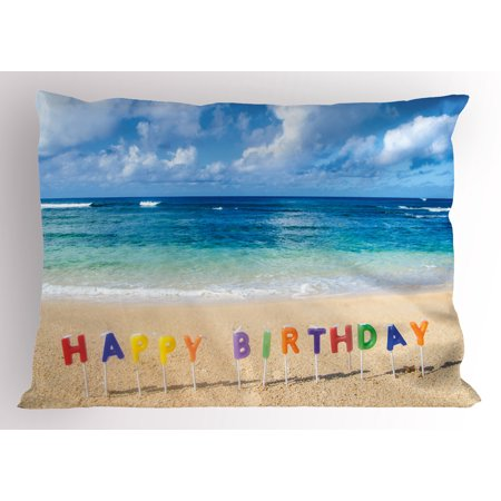 Birthday Pillow Sham Happy Birthday Sign on the Tropical Beach in Hawaii Exotic Sweet Surprise Theme, Decorative Standard Size Printed Pillowcase, 26 X 20 Inches, Multicolor, by Ambesonne (Hawian Theme)