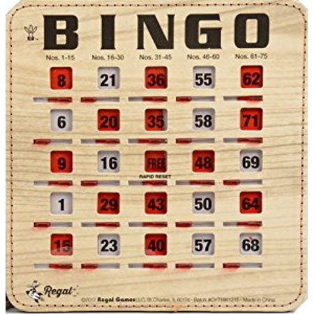 Halloween Bingo Game Cards (Regal Games 10 Pack Extra Thick Stitched Woodgrain Quick Clear Rapid Reset Shutter Bingo Cards With Big)