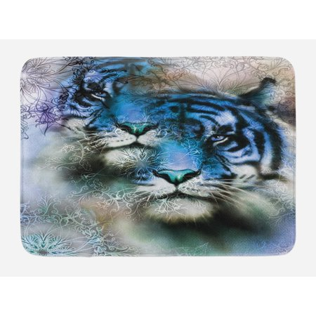 Animal Bath Mat, Two Tiger Safari Cat African Wild Furious Life Big Animals Artwork Print, Non-Slip Plush Mat Bathroom Kitchen Laundry Room Decor, 29.5 X 17.5 Inches, Blue Black and White, Ambesonne